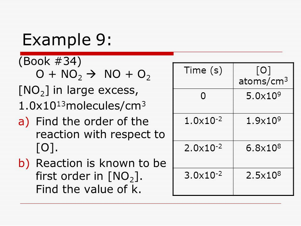 Example 9: (Book #34) O + NO2  NO + O2 [NO2] in large excess,